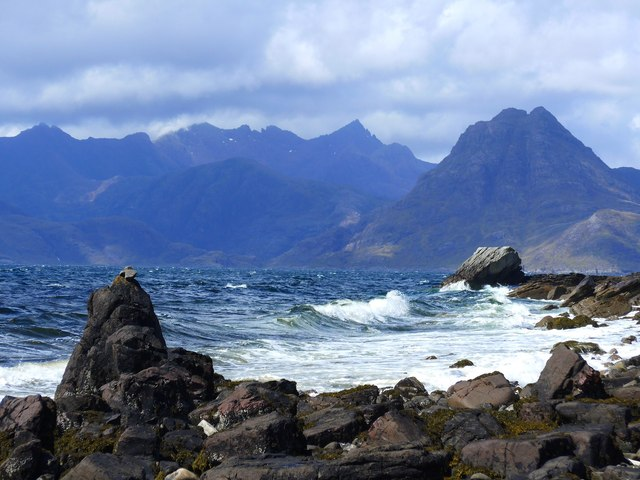 Rocky beach and wild sea at Elgol