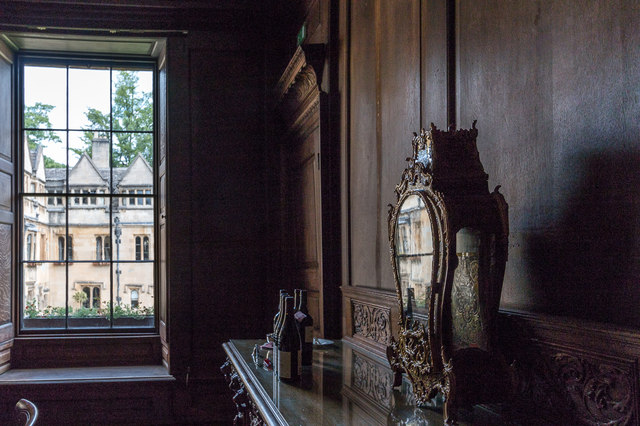 Mantle Clock and Window, Dining Room, Brasenose College, Oxford
