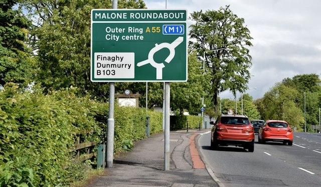 Malone Roundabout sign, Belfast (June 2015)