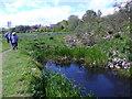 NJ8715 : Drain by riverside path by Stanley Howe