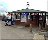 SZ3394 : Kiosk at the entrance to the Sea Water Baths in Lymington by Jaggery