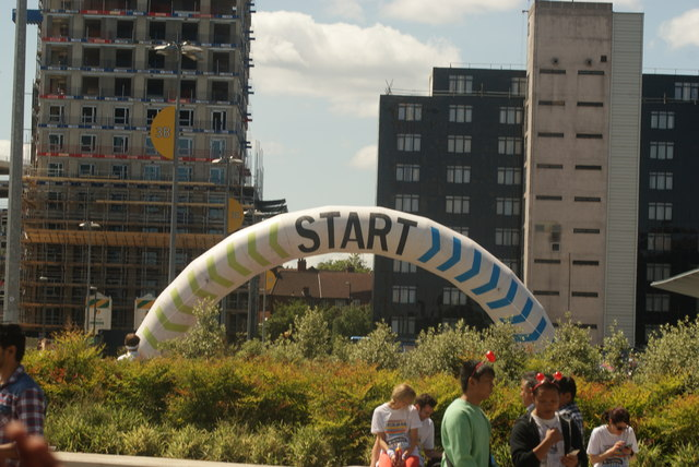 View of one of the start markers for the Colour Run from Olympic Way