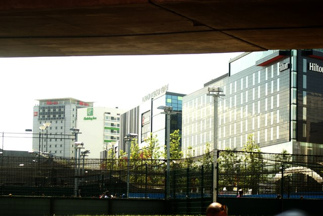 View of Ibis, Holiday Inn Express, Cineworld and the Hilton from Olympic Way