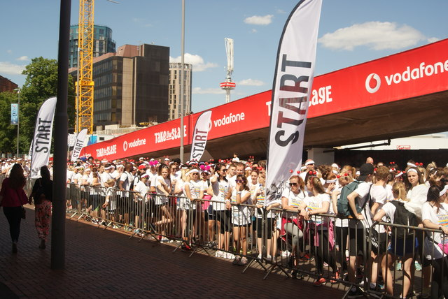 View of the next round of Colour Runners lining up at the start line #6