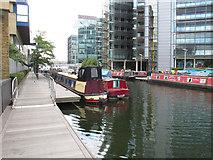 TQ2681 : Narrow Escape - narrowboat in Paddington Basin by David Hawgood