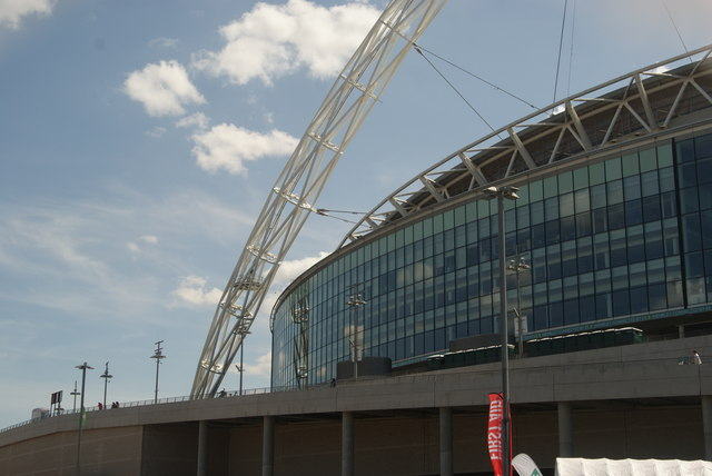 View of Wembley Stadium from the car park on Engineer's Way