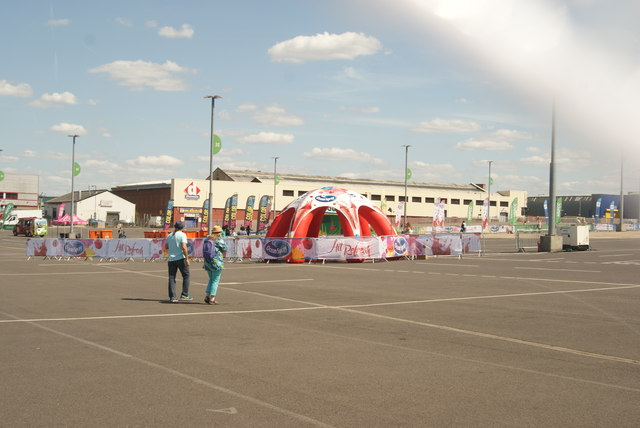 View of the Ocean Spray tent in the car park on Engineer's Way