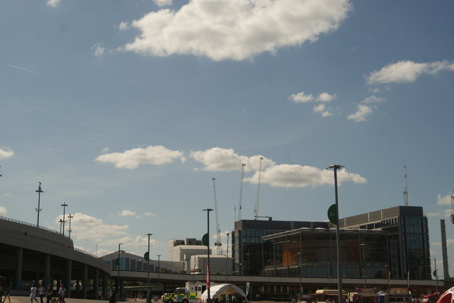 View of Brent Civic Centre and Wembley Arena from the car park on Engineer's Way