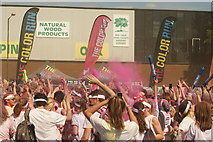 TQ1985 : View of a small colour throw in front of the stage at the Colour Run #2 by Robert Lamb