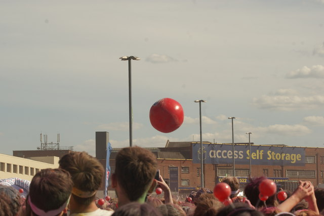 View of a giant volleyball in the crowd at the Colour Run