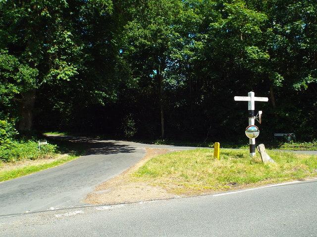 Road junction near Fryerning, Essex