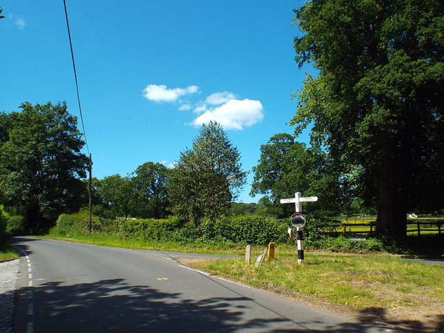 Road junction near Fryerning, Essex