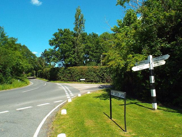 Road junction near Blackmore, Essex