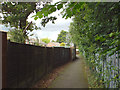 SP1582 : Path to Elmdon Park beside the Land Rover plant, rear of Leafield Road, Olton by Robin Stott
