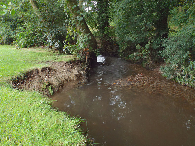 Erosion and deposition, brook in Elmdon Park, Olton