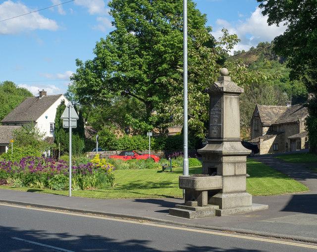 Fountain at small garden in Mytholmroyd