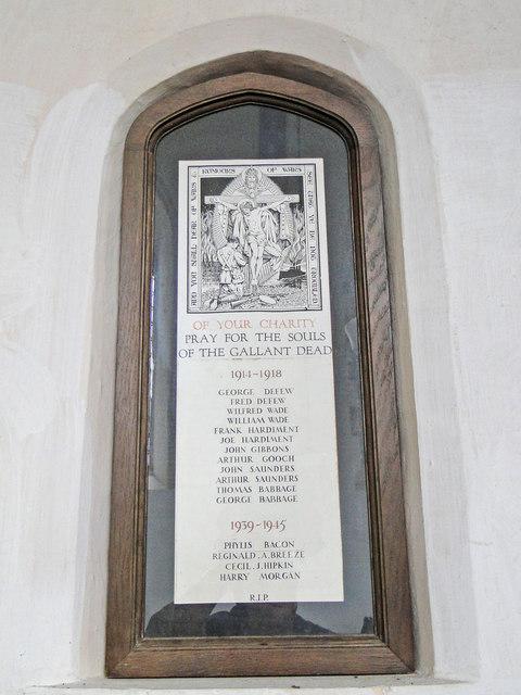 War Memorial in Wicklewood church