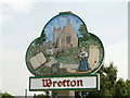 TL6899 : Wretton village sign (detail) by Adrian S Pye