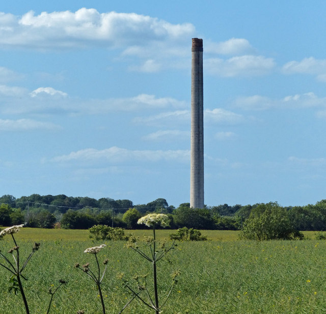 View towards the disused cement works chimney