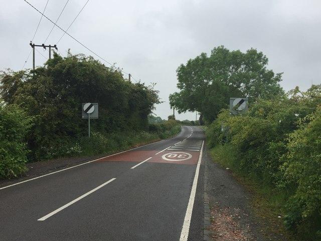 Scot Hay: de-restriction signs on Crackley Lane