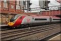 "SJ7154 : Virgin Class 390, 390049 ""Virgin Express"", platform 5, Crewe railway station by El Pollock"