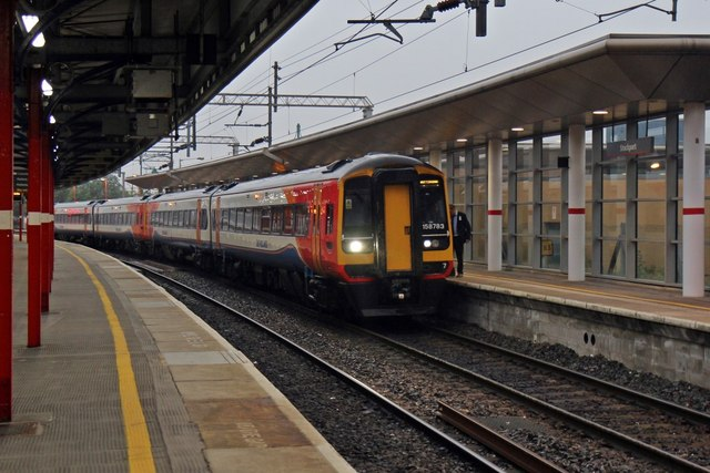 East Midlands Trains Class 158, 158783, platform 0, Stockport railway station