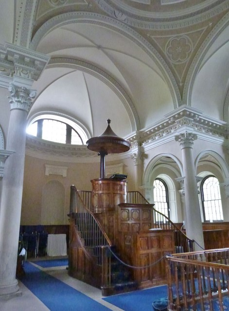 Interior of the Palladian style Chapel at Gibside, Gateshead