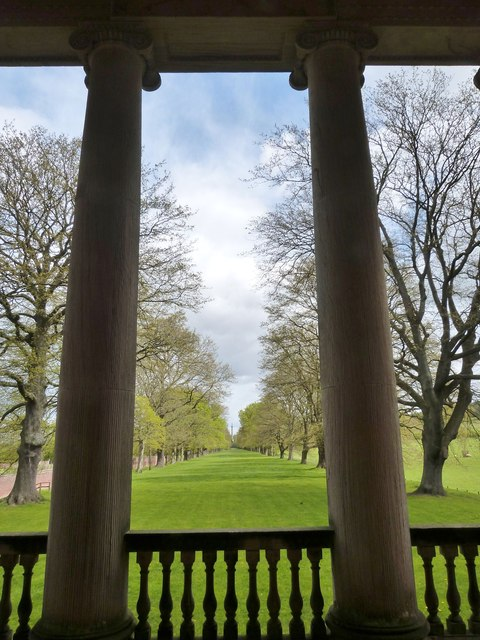 The Avenue from between the Ionic columns of the Chapel at Gibside Hall