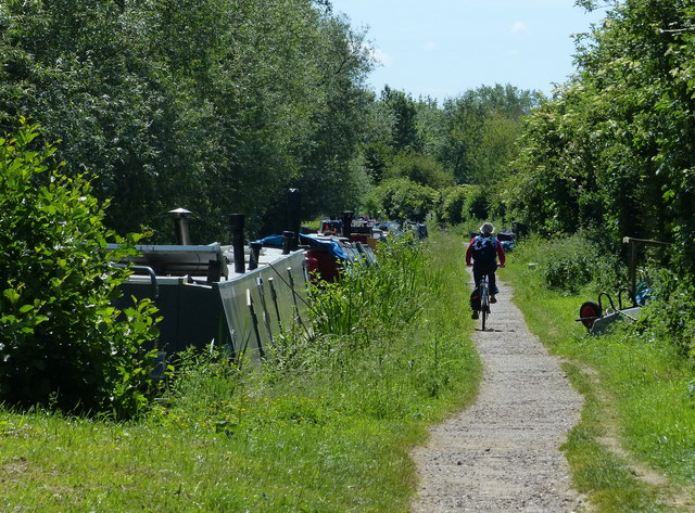 Cyclist heading south along the towpath towards Oxford