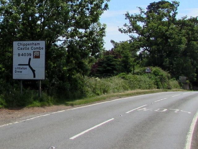 Left ahead for Littleton Drew, Acton Turville