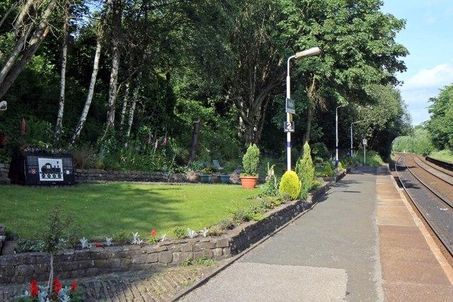 Well-kept garden, Hindley railway station