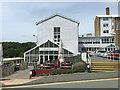 SN5981 : Outdoor tables, Ta Med Da, Penbryn, Penglais Campus, Aberystwyth University by Robin Stott