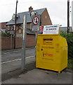SP4416 : Yellow donations bin outside Woodstock fire station by Jaggery