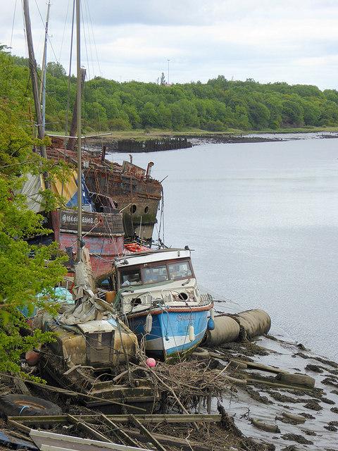 Boat graveyard on the Wear
