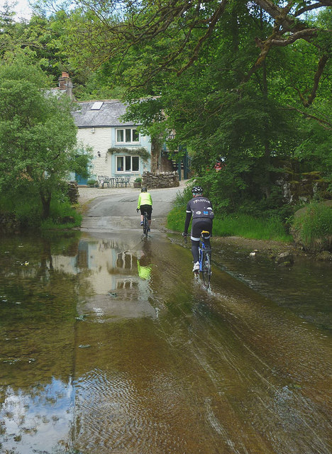 Cycling over the ford at Rutter Mill