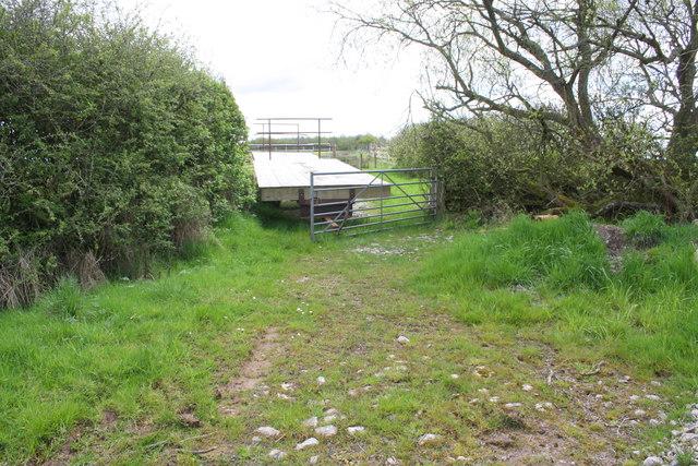 Farm trailer at entrance to field near Jerusalem Farm