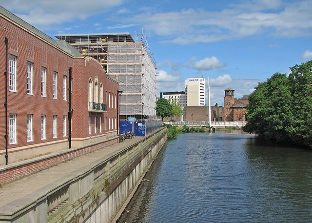 Derby: towards the Silk Mill from Exeter Bridge