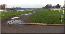 SO8455 : Wonky fence at Worcester Racecourse by Jaggery