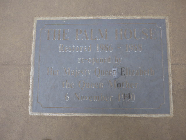 Restoration plaque within The Palm House
