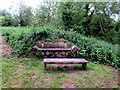 SP4417 : Log bench and wooden table in Woodstock Watermeadows by Jaggery