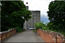 TL7835 : Castle Hedingham: The Norman keep from the bridge over the dry moat by Michael Garlick