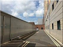 SJ8545 : Royal Stoke University Hospital: access road between Main and Lyme Buildings by Jonathan Hutchins