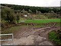 SO5306 : Tracks in a riverside field, Whitebrook by Jaggery