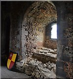 TL7835 : Castle Hedingham: The Norman keep; alcove in the dormitory by Michael Garlick