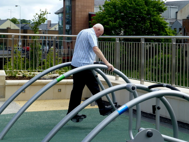 Exercising at the OASIS Plaza