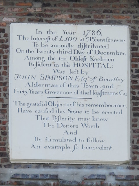 Plaque on The Keelmens Hospital, City Road, NE1 (2)