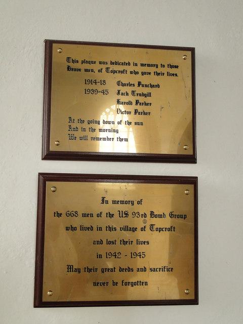 Topcroft War Memorial and Hardwick Airfield Memorial