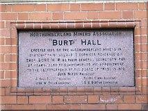 NZ2564 : Plaque on Burt Hall, Northumberland Road, NE1 by Mike Quinn