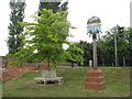 TL1351 : Great Barford Village sign and Jubilee tree by M J Richardson