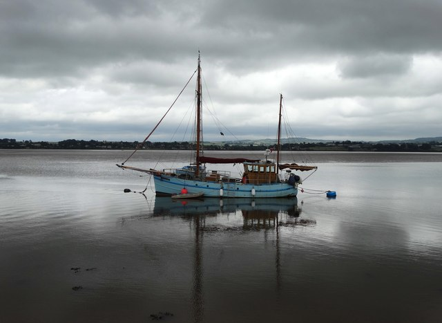 Boat at anchor in The River Exe